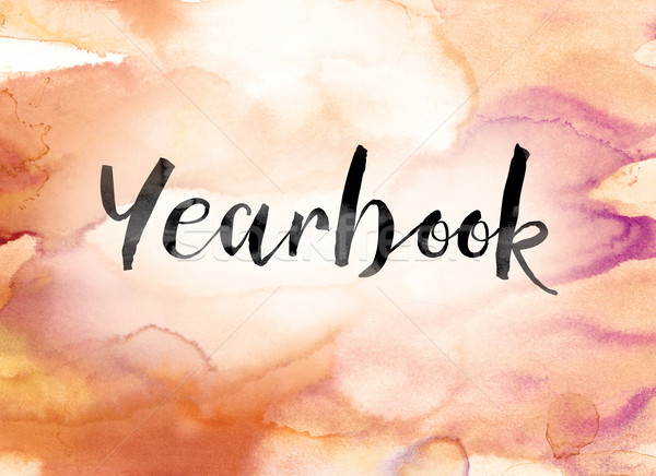 Yearbook Colorful Watercolor and Ink Word Art Stock photo © enterlinedesign