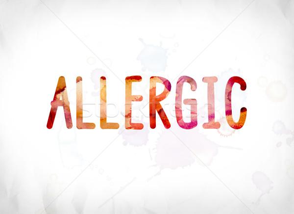 Alérgico pintado aquarela palavra arte colorido Foto stock © enterlinedesign
