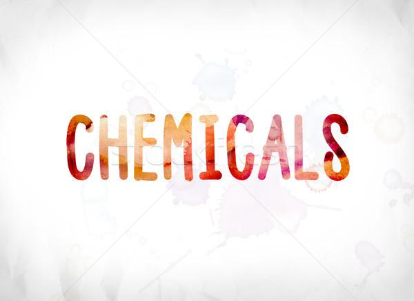 Kimyasallar boyalı suluboya kelime sanat renkli Stok fotoğraf © enterlinedesign