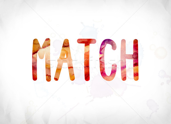 Match peint couleur pour aquarelle mot art coloré Photo stock © enterlinedesign