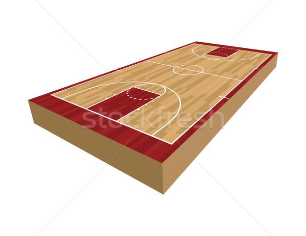 3D basketbol sahası örnek gerçekçi yalıtılmış beyaz Stok fotoğraf © enterlinedesign