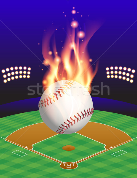 Baseball, Field, and Flame Illustration Stock photo © enterlinedesign
