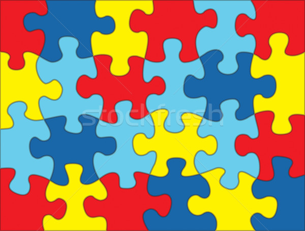 Puzzle Pieces in Autism Awareness Colors Background Illustration Stock photo © enterlinedesign