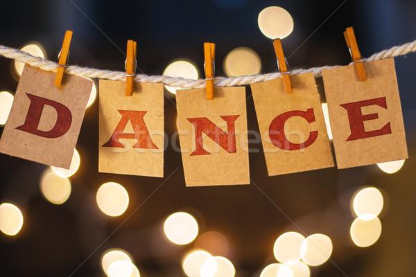 Dans kartları ışıklar kelime basılı clothespin Stok fotoğraf © enterlinedesign
