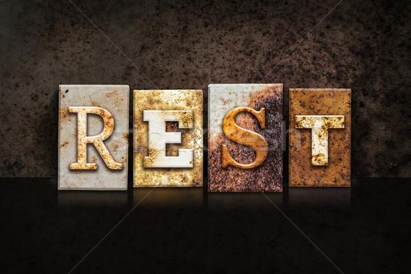 Rest Letterpress Concept on Dark Background Stock photo © enterlinedesign