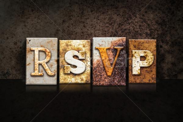 RSVP Letterpress Concept on Dark Background Stock photo © enterlinedesign