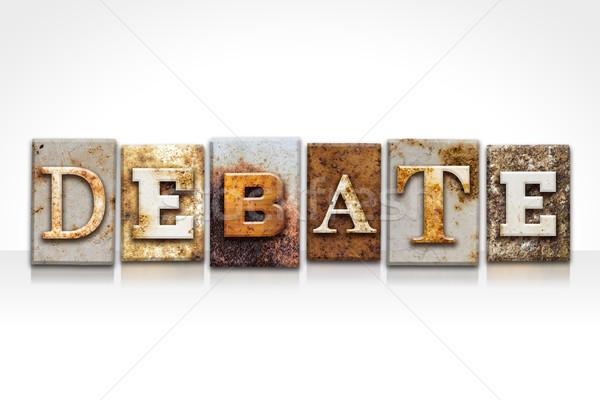 дебаты изолированный белый слово написанный Сток-фото © enterlinedesign