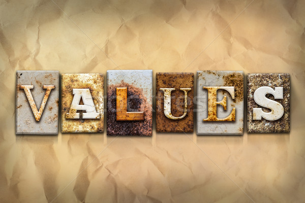Values Concept Rusted Metal Type Stock photo © enterlinedesign