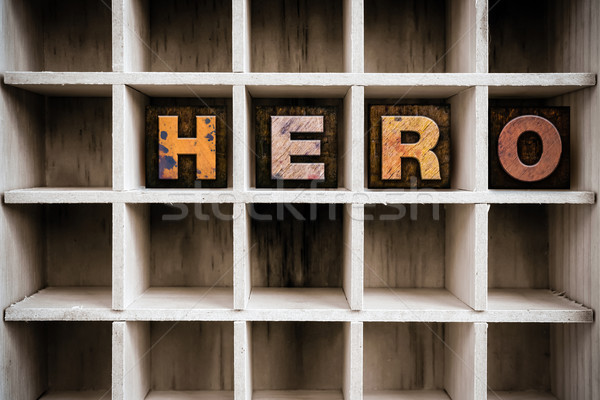 Hero Concept Wooden Letterpress Type in Draw Stock photo © enterlinedesign