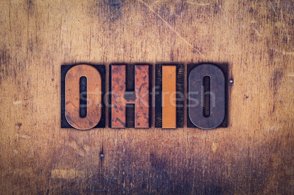 Ohio houten type woord geschreven Stockfoto © enterlinedesign