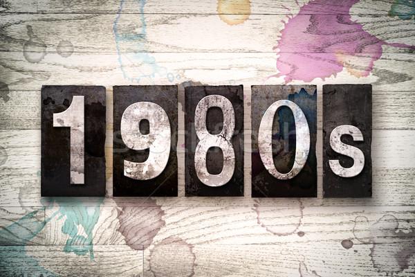 1980 metal tipo parola scritto Foto d'archivio © enterlinedesign