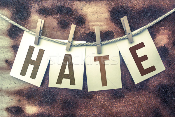 Hate Concept Pinned Stamped Cards on Twine Theme Stock photo © enterlinedesign