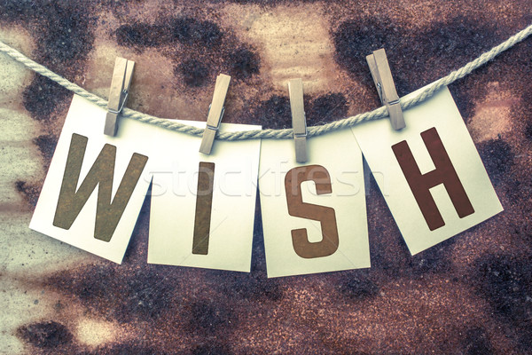 Wish Concept Pinned Stamped Cards on Twine Theme Stock photo © enterlinedesign