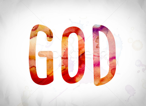 God Concept Watercolor Word Art Stock photo © enterlinedesign