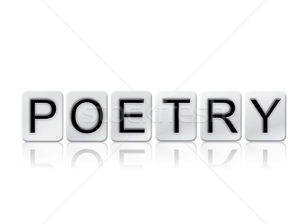 Poesia isolado azulejos cartas palavra escrito Foto stock © enterlinedesign
