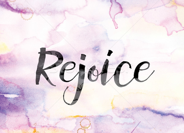 Rejoice Colorful Watercolor and Ink Word Art Stock photo © enterlinedesign