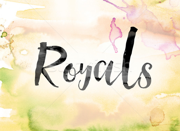 Royals Colorful Watercolor and Ink Word Art Stock photo © enterlinedesign