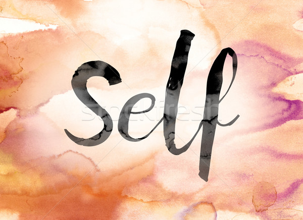 Self Colorful Watercolor and Ink Word Art Stock photo © enterlinedesign