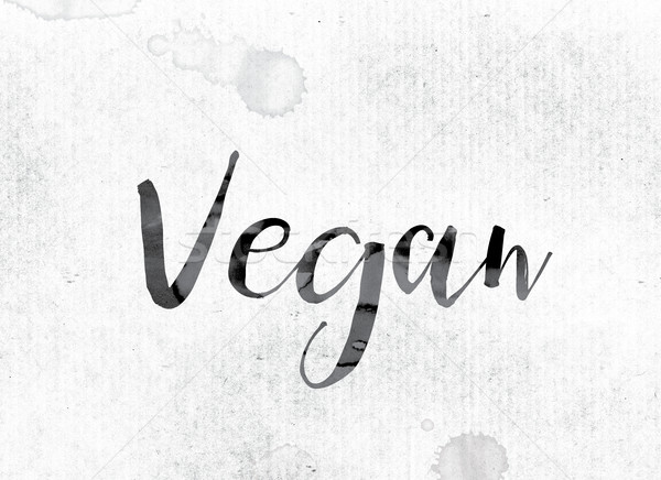Vegan pintado nosso palavra aquarela branco Foto stock © enterlinedesign
