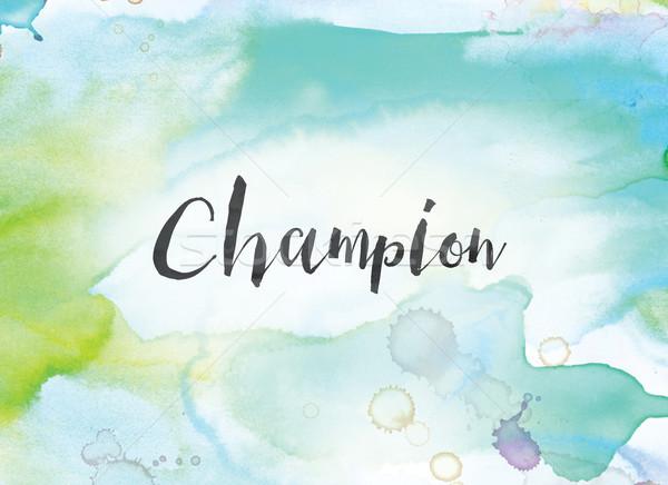 чемпион акварель чернила Живопись слово написанный Сток-фото © enterlinedesign
