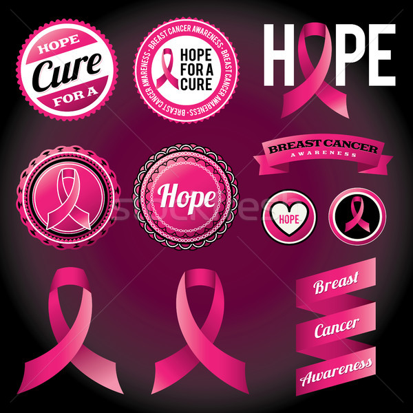 Breast Cancer Awareness Ribbons and Badges Stock photo © enterlinedesign