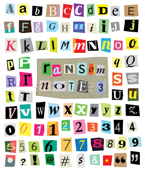 Vector Ransom Note #3- Cut Paper Letters, Numbers, Symbols Stock photo © enterlinedesign