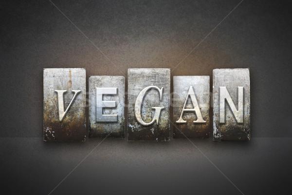 Vegan magasnyomás szó írott klasszikus Stock fotó © enterlinedesign