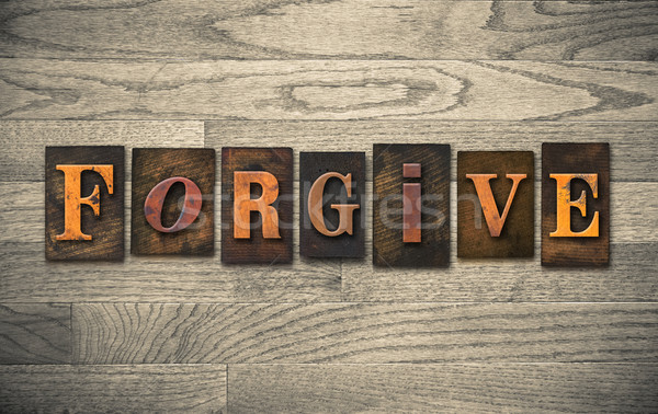 Forgive Wooden Letterpress Concept Stock photo © enterlinedesign
