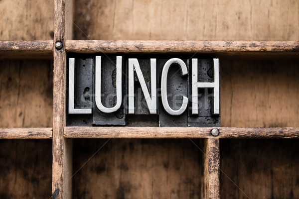 Lunch Vintage Letterpress Type in Drawer Stock photo © enterlinedesign