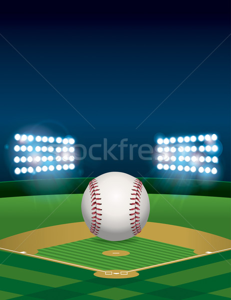 Baseball on Baseball Field Illustration Stock photo © enterlinedesign