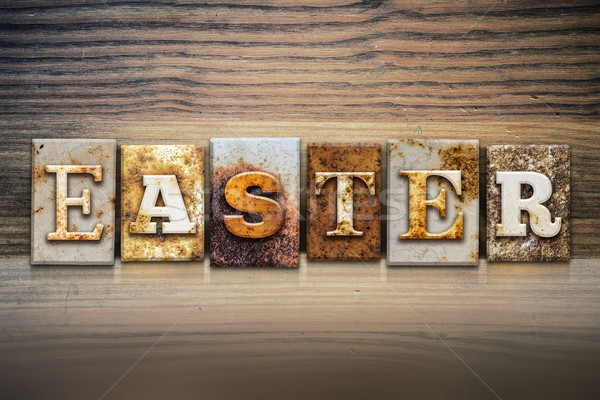 Easter Concept Letterpress Theme Stock photo © enterlinedesign