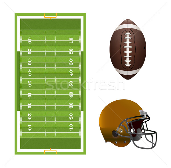 American Football Field, Ball, and Helmet Elements Stock photo © enterlinedesign