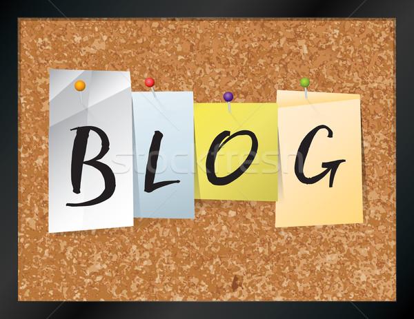 Blog boletim conselho ilustração palavra escrito Foto stock © enterlinedesign