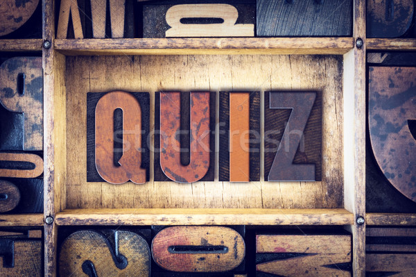 Quiz type woord geschreven vintage Stockfoto © enterlinedesign