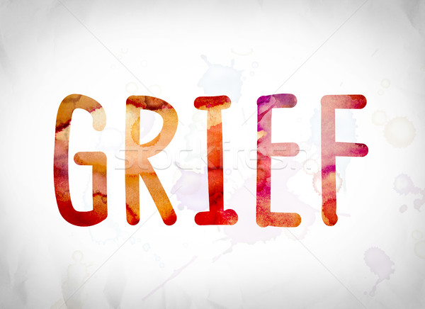 Grief Concept Watercolor Word Art Stock photo © enterlinedesign