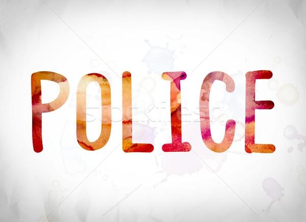 Police Concept Watercolor Word Art Stock photo © enterlinedesign