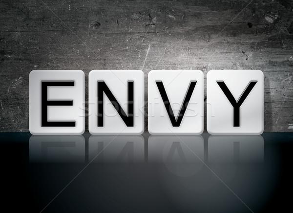 Invidiare piastrellato lettere parola scritto bianco Foto d'archivio © enterlinedesign