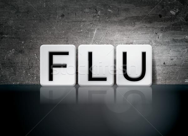 Influenza csempézett levelek szó írott fehér Stock fotó © enterlinedesign