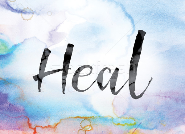 Heal Colorful Watercolor and Ink Word Art Stock photo © enterlinedesign