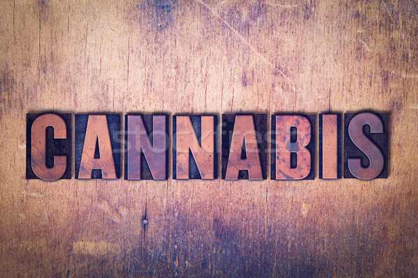 Cannabis Theme Letterpress Word on Wood Background Stock photo © enterlinedesign