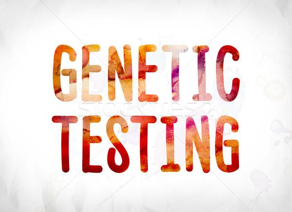 Genetik test boyalı suluboya kelime sanat Stok fotoğraf © enterlinedesign