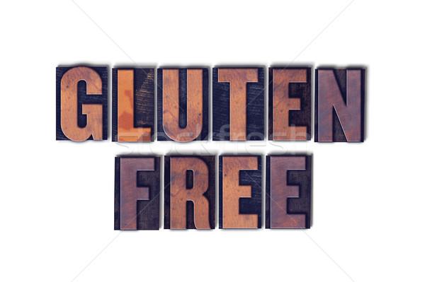 Glutenvrij geïsoleerd woord woorden geschreven Stockfoto © enterlinedesign