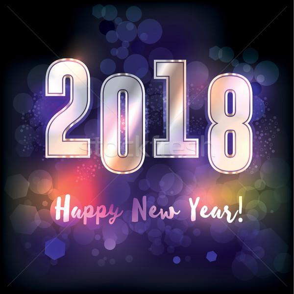 Happy New Year 2018 Illustration Stock photo © enterlinedesign