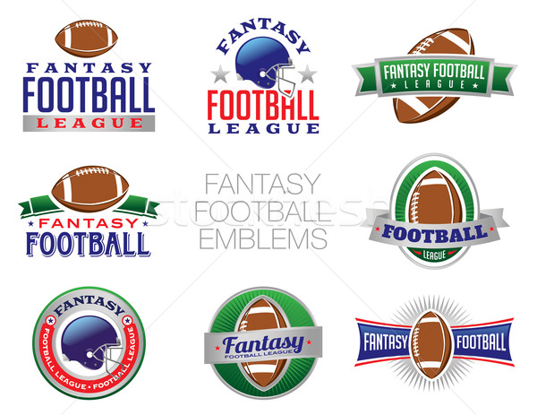 Fantasie voetbal embleem illustraties illustratie badges Stockfoto © enterlinedesign