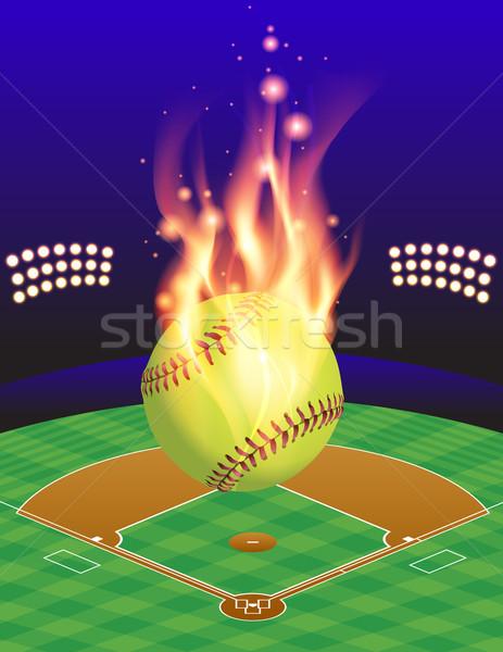 Softbal veld brand illustratie vlammende boven Stockfoto © enterlinedesign