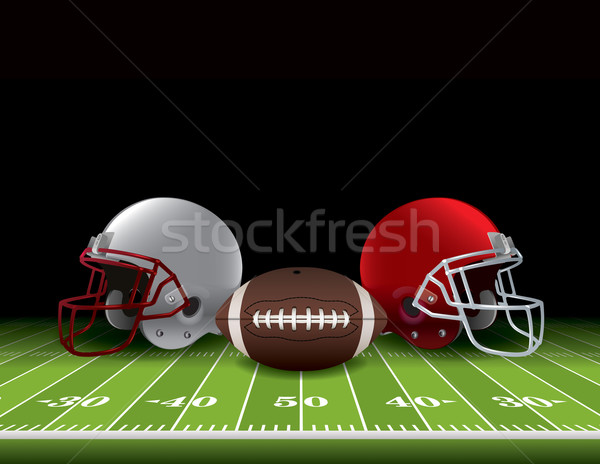 American Football Helmets and Ball on Field Stock photo © enterlinedesign