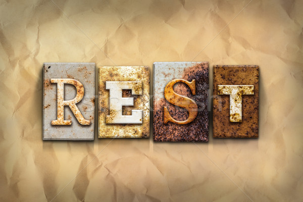 Rest Concept Rusted Metal Type Stock photo © enterlinedesign