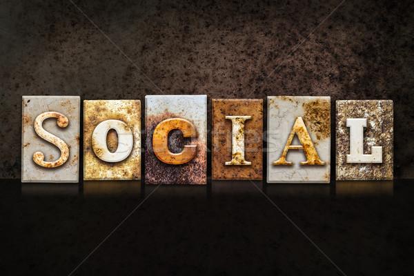 Social escuro palavra escrito enferrujado Foto stock © enterlinedesign