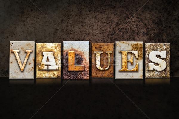 Values Letterpress Concept on Dark Background Stock photo © enterlinedesign