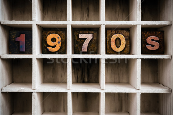 1970 houten type trekken woord Stockfoto © enterlinedesign